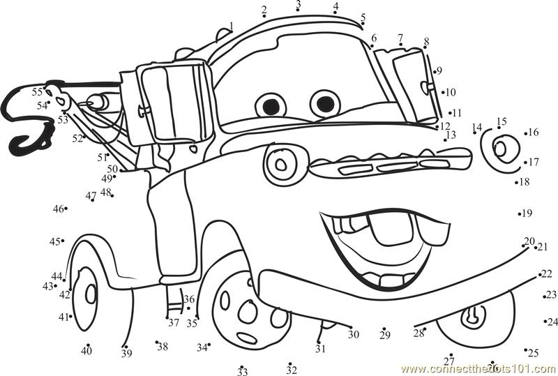 Funny Cars Disney Dot To Dot Printable Worksheet
