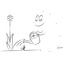 Barbapapa Watering in Flower Dot to Dot Worksheet