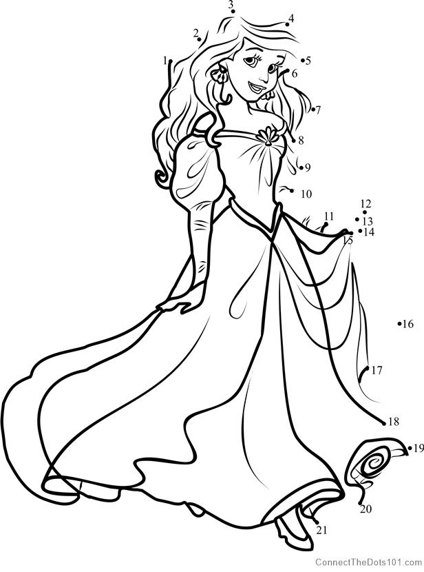 Princess Ariel dot to dot printable worksheet - Connect ...