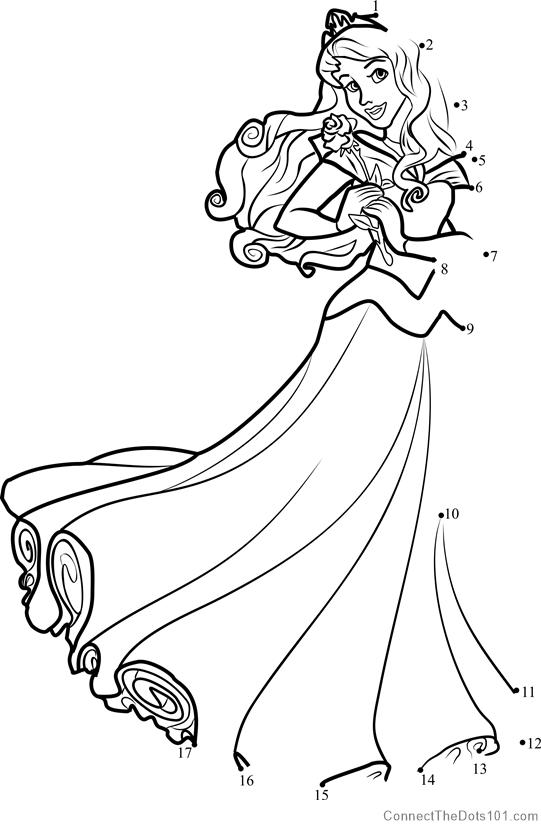 Princess Aurora Dot To Dot Printable Worksheet Connect