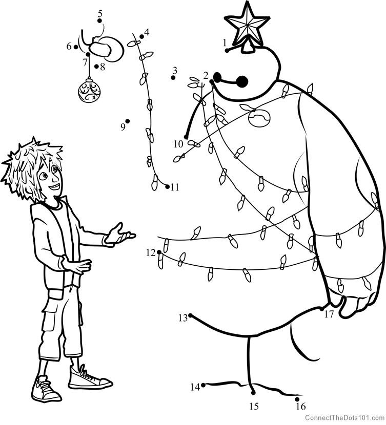 And baymax christmas dot to dot printable worksheet connect the dots