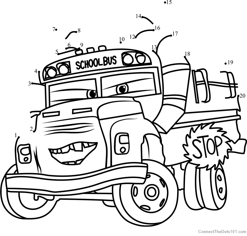 Disney cars coloring pages king mrs ~ Miss Fritter from Cars 3 dot to dot printable worksheet ...