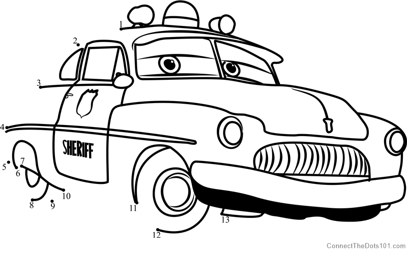 Sheriff From Cars 3 Dot To Dot Printable Worksheet