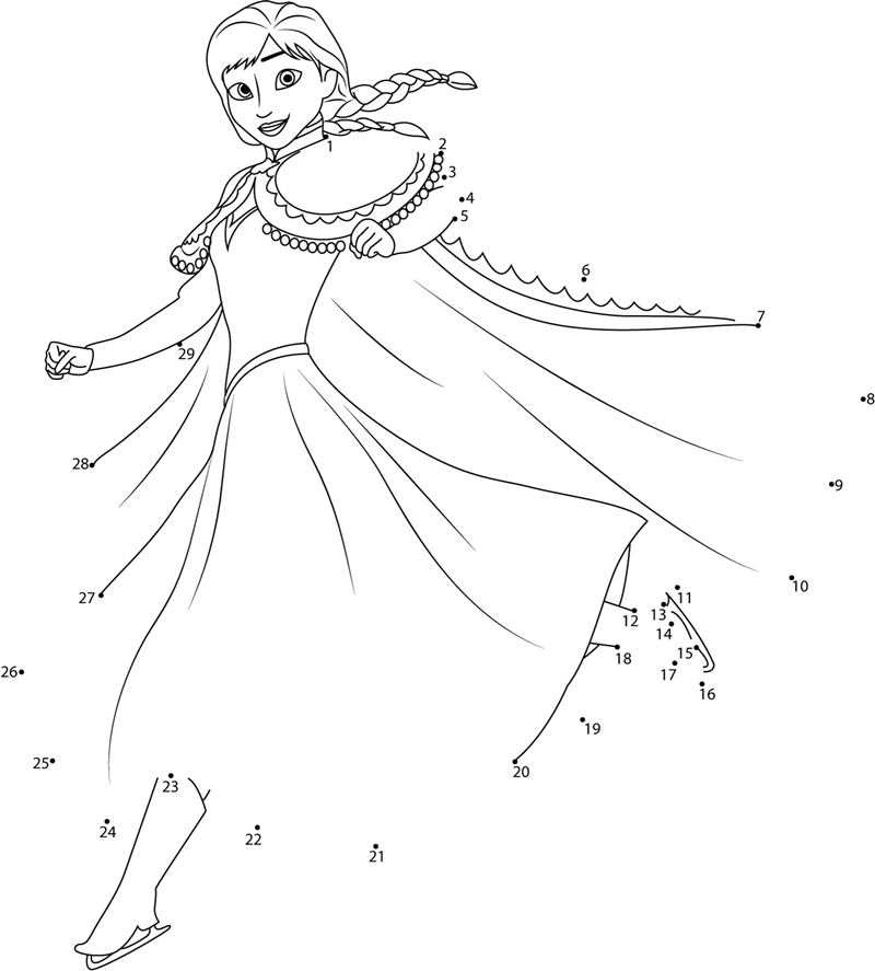 Anna Ice Skating Dot To Dot Printable Worksheet