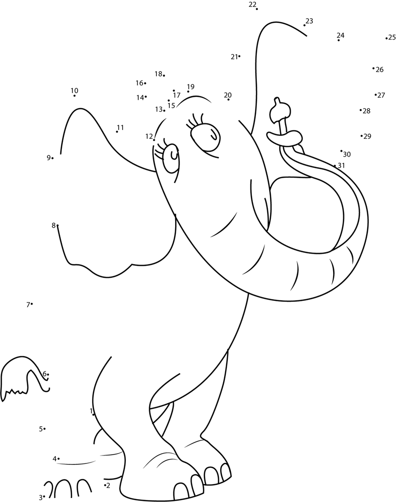 Horton The Elephant Dot To Dot Printable Worksheet
