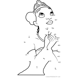Princess Tiana Dot to Dot Worksheet