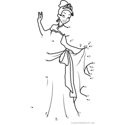 Tiana Dot to Dot Worksheet