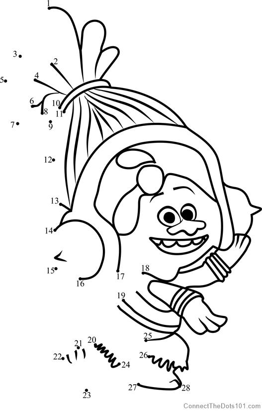 DJ Suki in Trolls dot to dot printable