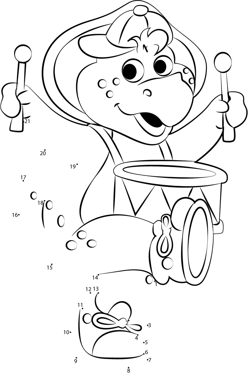 Bj With Drum Dot To Dot Printable Worksheet Connect The Dots