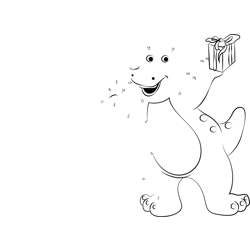 Barney with Gift Dot to Dot Worksheet