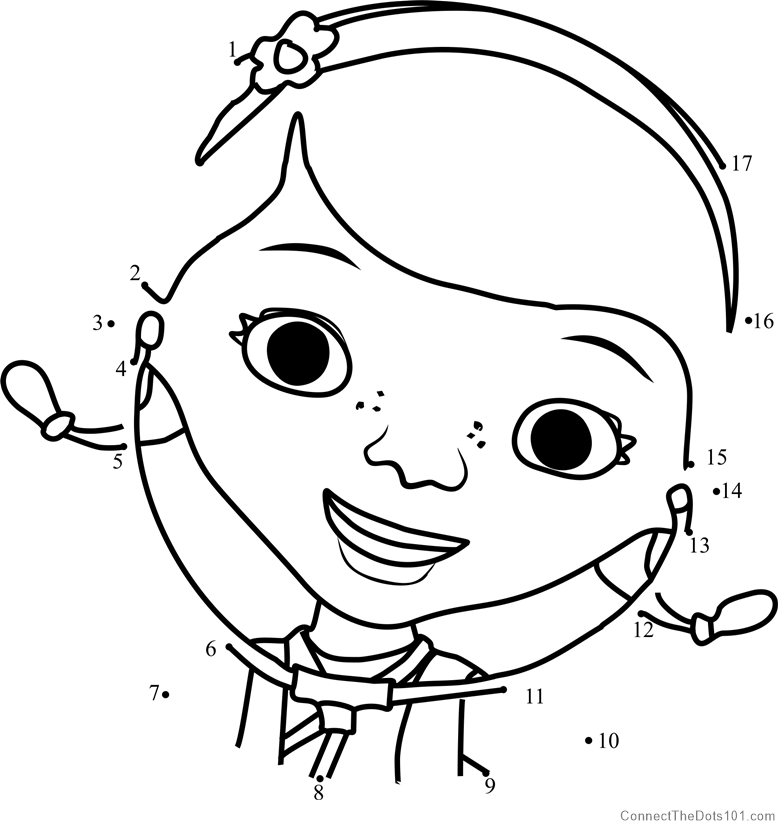 Doc McStuffins dot to dot printable worksheet - Connect The Dots