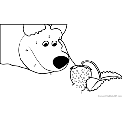 The Bear with Strawberry Dot to Dot Worksheet