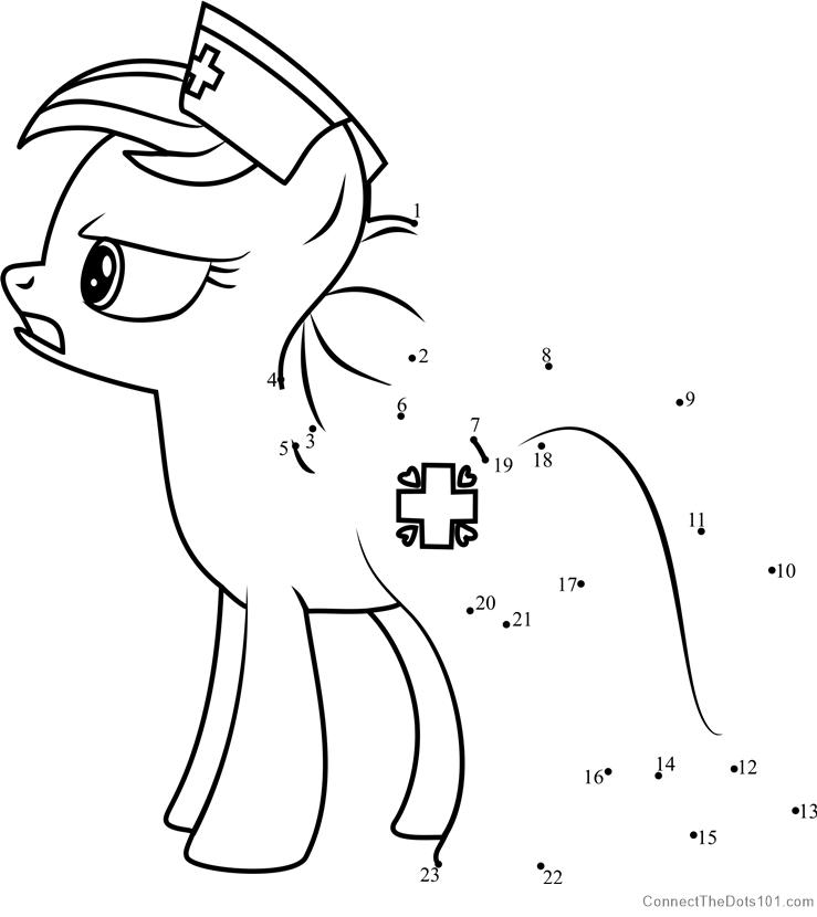 Nurse Redheart My Little Pony dot to dot printable