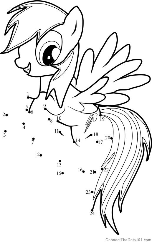 15133 Rainbow Dash Dot To Dot on Superheroes Worksheets For Kids