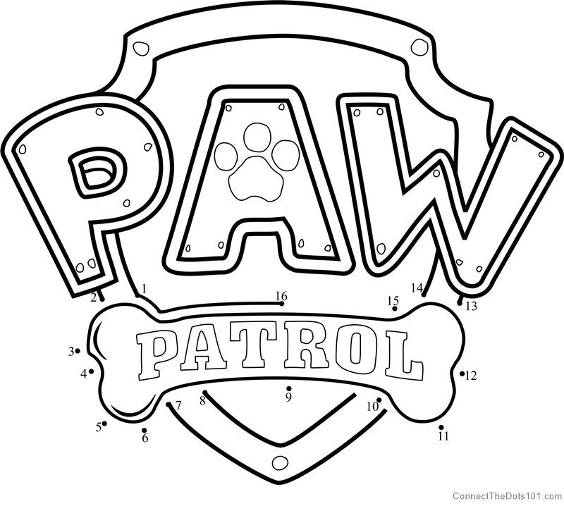 picture relating to Paw Patrol Printable identified as Paw Patrol Emblem dot towards dot printable worksheet - Communicate The