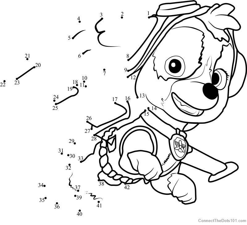 Paw Patrol Marshall Kleurplaat Skye Dot To Dot Printable Worksheet Connect The Dots