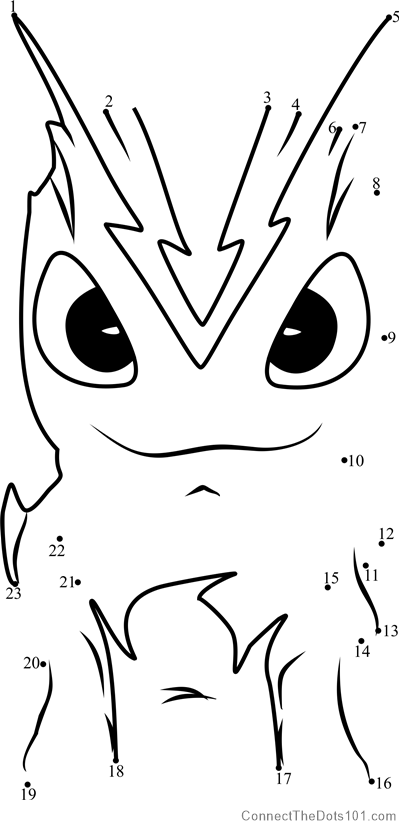 Burpy Slugterra dot to dot printable worksheet Connect