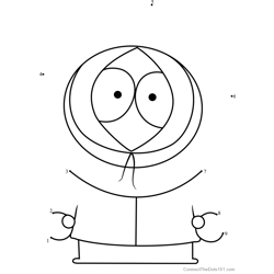 Kenny McCormick from South Park Dot to Dot Worksheet