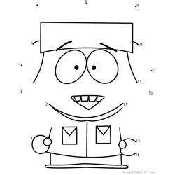 Kyle Broflovski from South Park Dot to Dot Worksheet