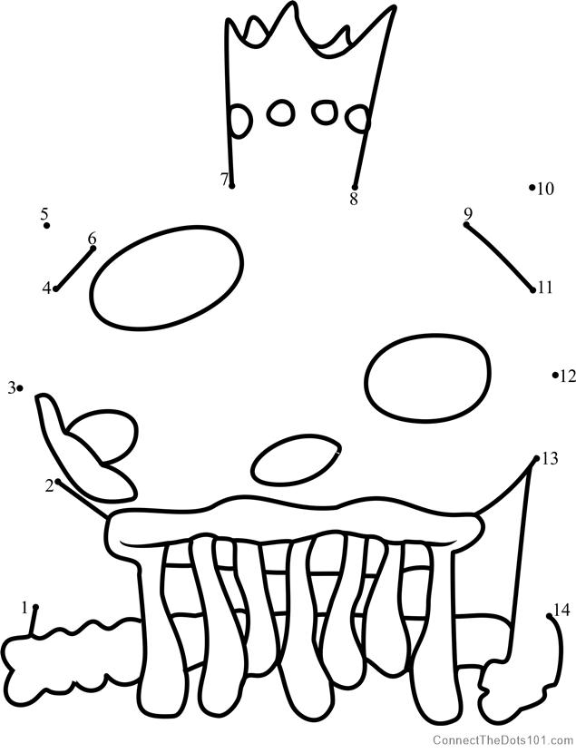 15557 King Jellyfish Dot To Dot on Spongebob Squarepants Connect The Dots