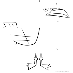 Seagull from Total Drama Dot to Dot Worksheet