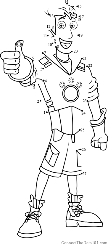 Wild Kratts Coloring Pages Pdf : Martin kratt dot to printable worksheet connect the dots