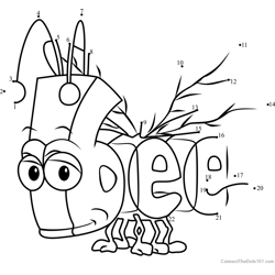 Bee from WordWorld Dot to Dot Worksheet