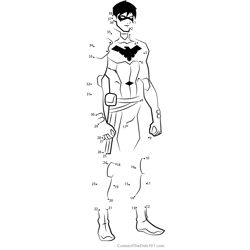 Nightwing from Young Justice Dot to Dot Worksheet