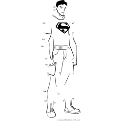 Superboy from Young Justice Dot to Dot Worksheet