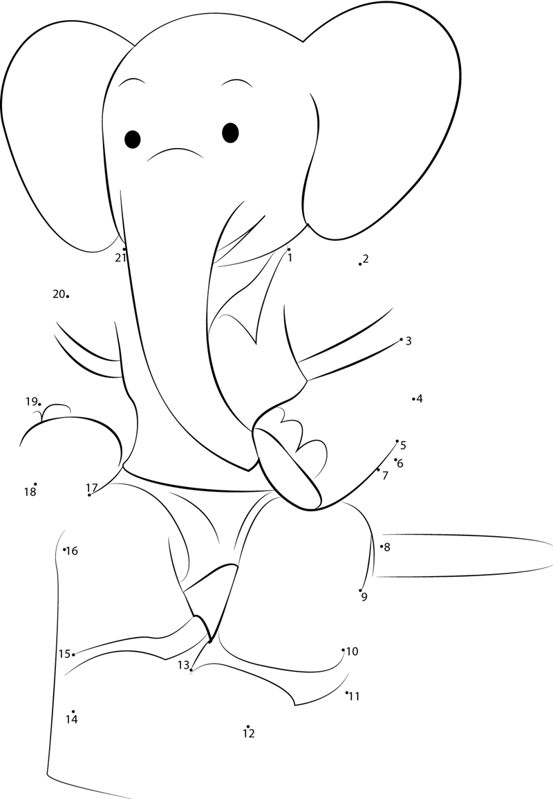 Babar Resting Dot To Dot Printable Worksheet Connect The