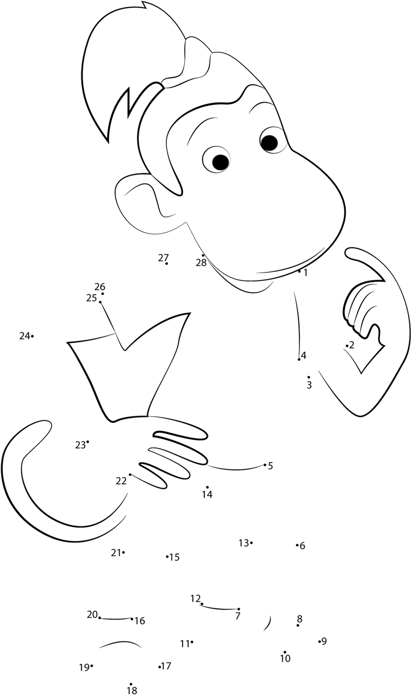 Monkey dot to dot printable worksheet   Connect The Dots