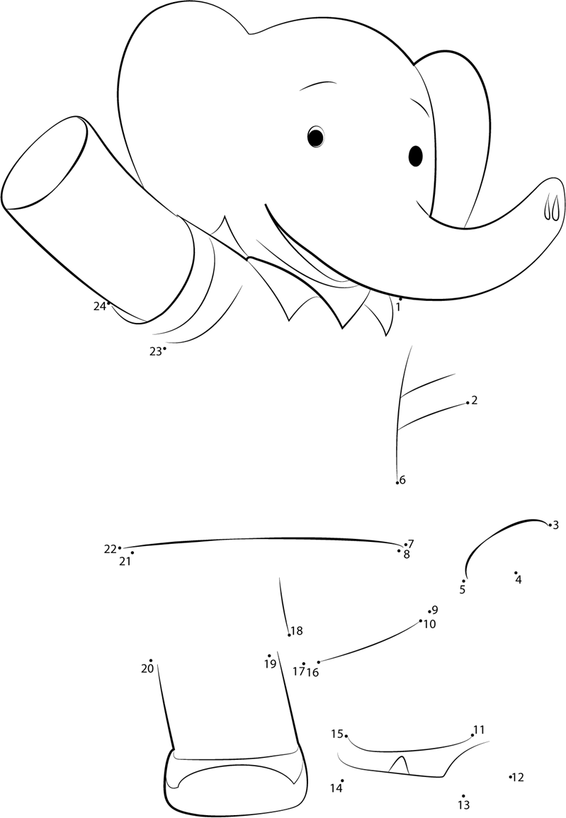 Elephant Dot To Dot Worksheet : Babar badou dot to printable worksheet connect the dots