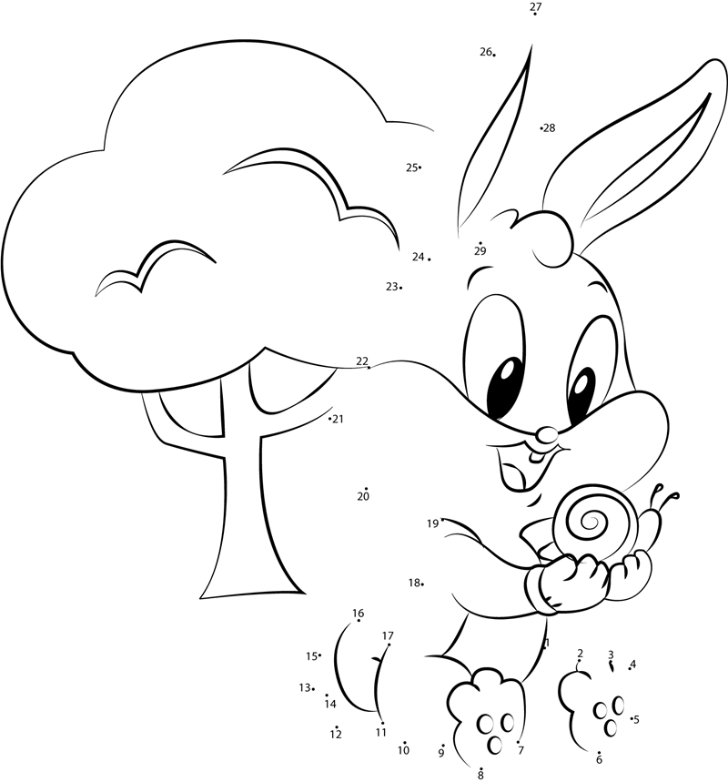 Baby Bunny with Snail dot to dot printable worksheet ...