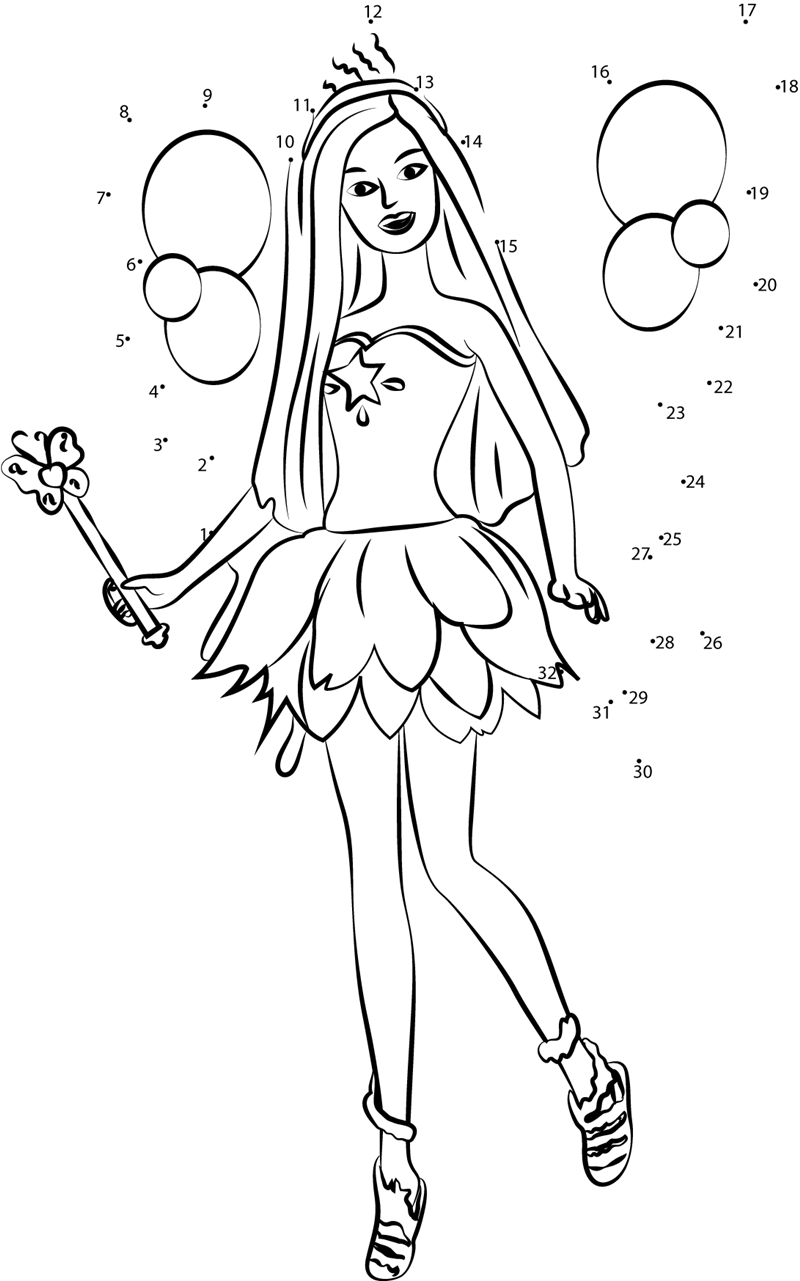Angel Barbie dot to dot printable worksheet Connect The Dots