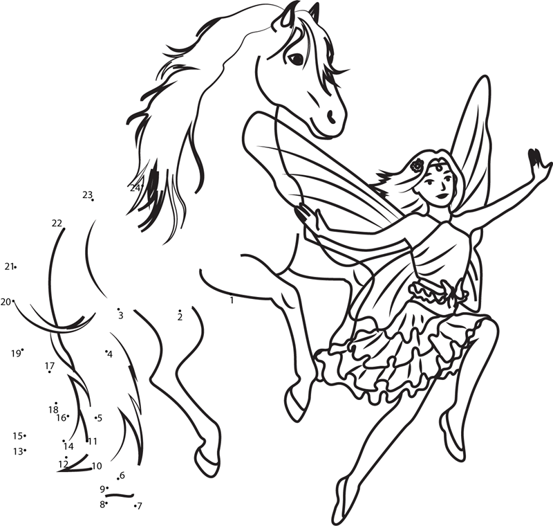 jumping horse and flying fairy dot to dot printable worksheet