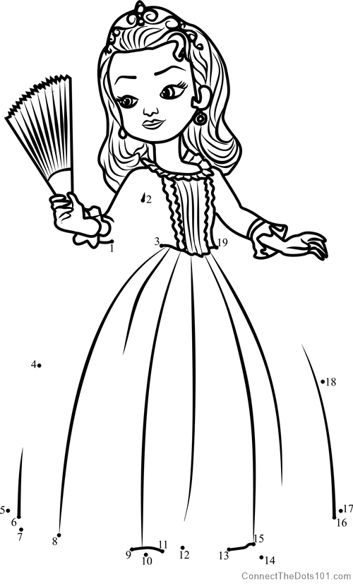 Princess Amber from Sofia the First dot to dot printable ...