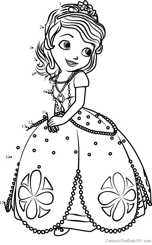 - Princess Sofia From Sofia The First Dot To Dot Printable Worksheet -  Connect The Dots