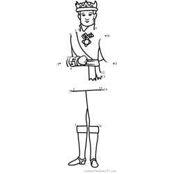 King Roland II from Sofia the First Dot to Dot Worksheet