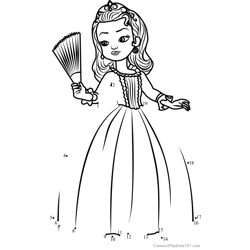 Princess Amber from Sofia the First Dot to Dot Worksheet