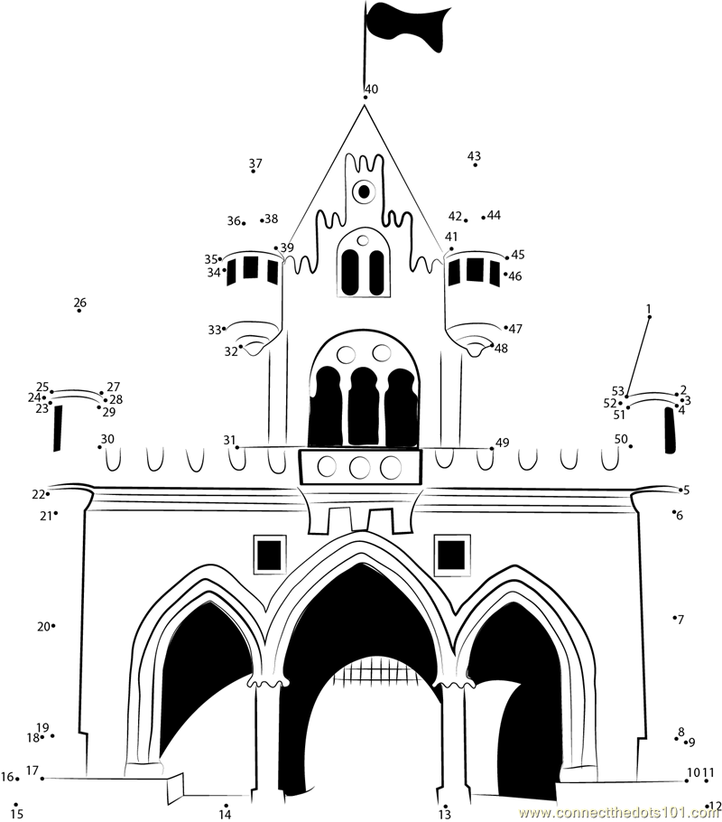 Walt Disney Castle dot to dot printable worksheet - Connect The Dots