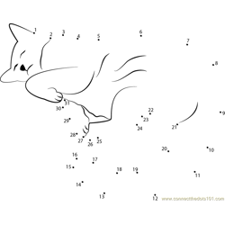 Sleeping Cat 1 Dot to Dot Worksheet