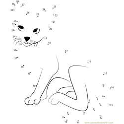 White Grey Cat Dot to Dot Worksheet