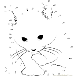 small cat Dot to Dot Worksheet