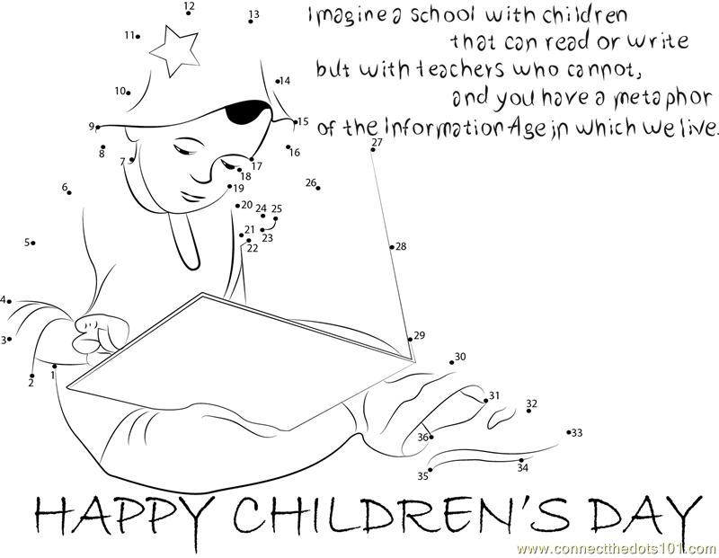 Celebrating Children's Day dot to dot printable worksheet ...