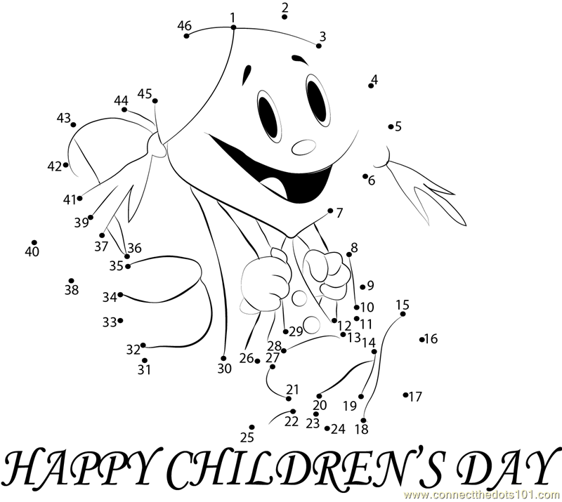 Funny Childrens Day dot to dot Printable Worksheet ConnectTheDots101.com
