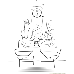 Buddha Statue in Kaohsiung Taiwan Dot to Dot Worksheet