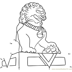 Forbidden City Lion Dot to Dot Worksheet