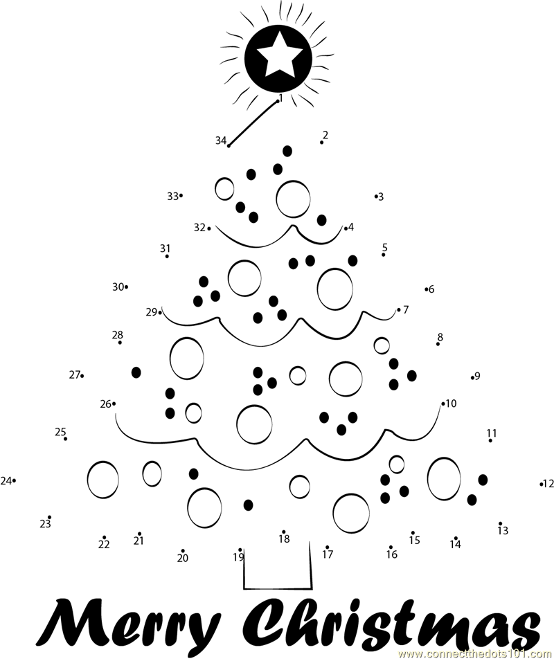 Beautiful Christmas Tree - Connect the Dots for Kids