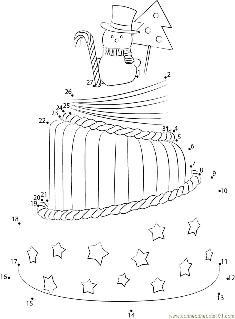 Bigstock Big Christmas Cake dot to dot printable worksheet