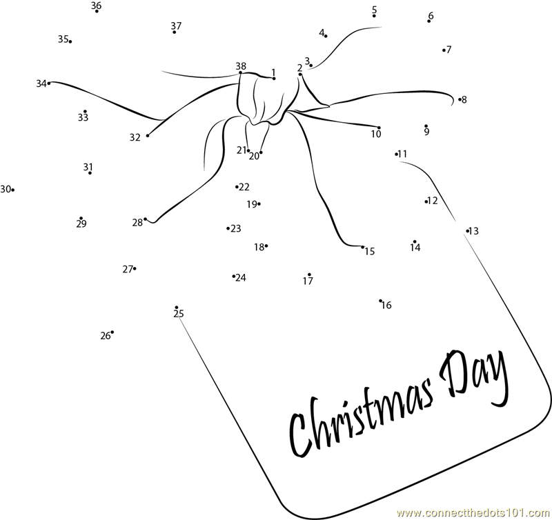 Christmas Day Ribbon dot to dot printable worksheet - Connect The Dots